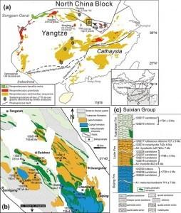(a) 华南板块地质前寒武纪地质简图;(b)研究区地质简图;(c) 随县群样品在地层中的相对位置