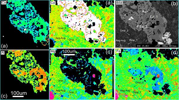 图2 绿帘石(Ep)和绿辉石(Omp)的多期生长及元素分布图