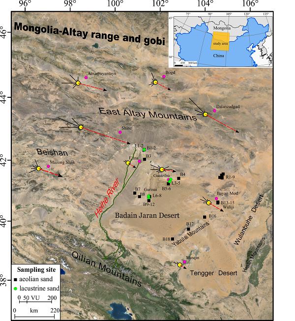 巴丹吉林沙漠表沙样品采样点分布及周边气象站风况与输沙势