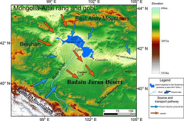 巴丹吉林沙漠物质来源和搬运方式、路径示意图