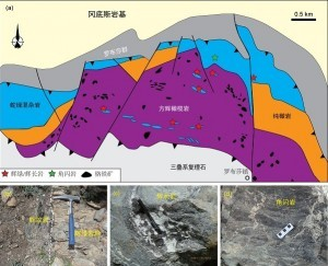 罗布莎蛇绿岩地质简图 (a)及辉绿岩脉(b)、辉长岩(c)和角闪岩(d)的野外产状