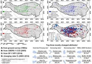 青藏高原湖泊数据集概况。(A) 1960年代(人工测绘,部分基于第一次湖泊调查成果整理);(B) 2005年(CBERS-1 CCD, 部分基于第二次湖泊调查成果整理);(C) 2014年(GF-1 WFV);(D) 2005~2014年湖泊面积变化率(%)