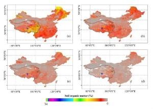 中国土壤有机质含量图。其中,(a), (b), (c)和(d)分别代表四个土壤深度(4.5厘米, 16.6厘米, 49.3厘米和82.9厘米)