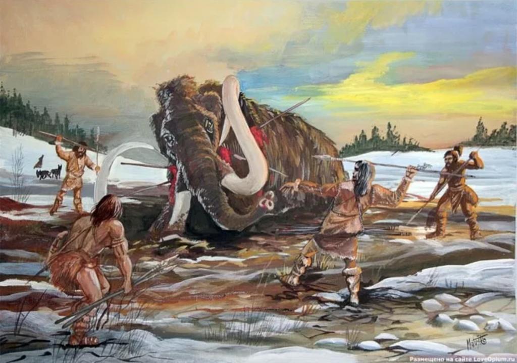 原始美洲土著人猎杀猛犸象