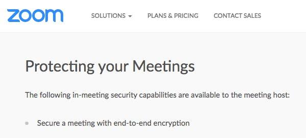 官网表示,会议主持人可以启用端到端加密